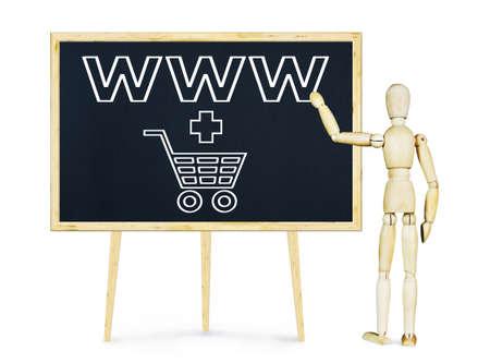 marioneta de madera: El hombre que hace la presentaci�n sobre el comercio por Internet. Imagen conceptual con un mu�eco de madera Foto de archivo