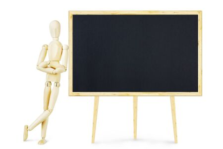 leaned: Man leaned against a clean blackboard. Abstract image with a wooden puppet