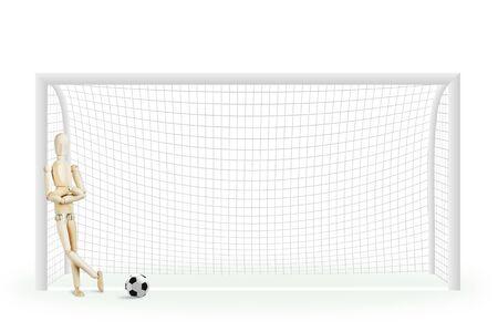 marioneta de madera: portero de fútbol de pie en la puerta. Imagen abstracta con una marioneta de madera Foto de archivo