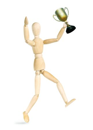 marioneta de madera: Man rejoices victory. Abstract image with a wooden puppet
