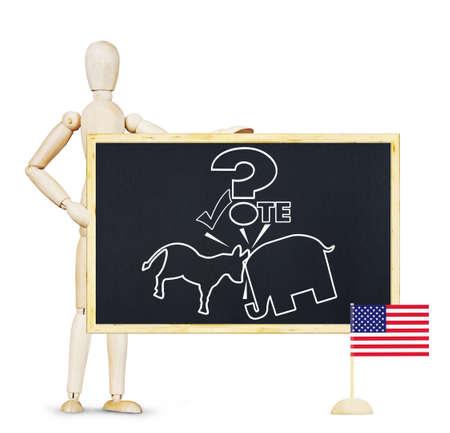 marioneta de madera: Hombre campa�a para votar en las elecciones en los EE.UU.. Imagen abstracta con una marioneta de madera Foto de archivo