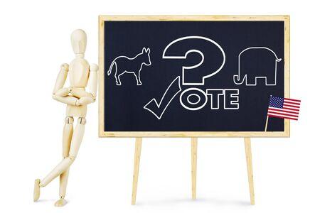 marioneta de madera: El hombre está pensando por quién votar en las elecciones. Imagen abstracta con una marioneta de madera