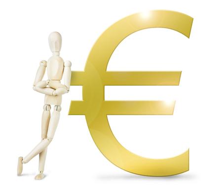 marioneta de madera: El hombre se apoy� en un enorme signo euro de oro. Imagen abstracta con una marioneta de madera