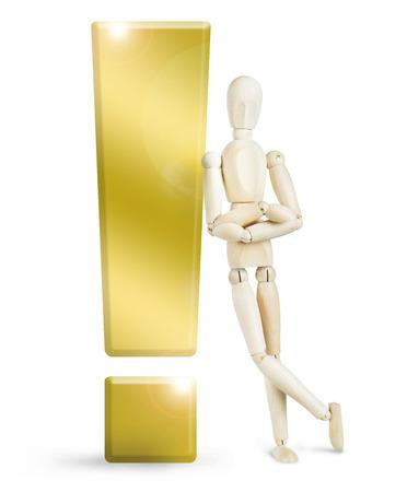 wooden puppet: El hombre se apoy� en un enorme signo de exclamaci�n de oro. Imagen abstracta con una marioneta de madera Foto de archivo