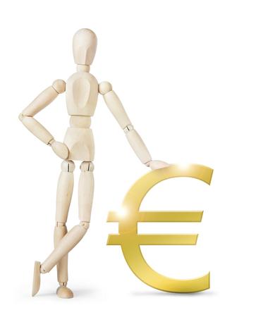 marioneta de madera: El hombre se apoyó en un gran signo euro de oro. Imagen abstracta con una marioneta de madera Foto de archivo