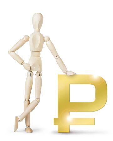 wooden puppet: El hombre se apoy� en un gran cartel Rublo de oro. Imagen abstracta con una marioneta de madera