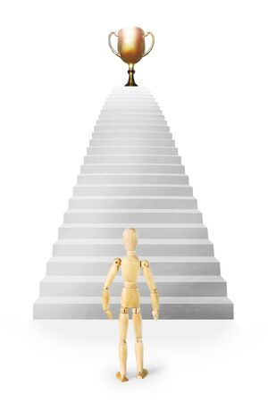 Man stands in front of stairs ascending up to the prize. Abstract image with a wooden puppet Stock Photo