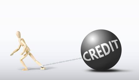 unbearable: Man dragging a heavy credit. Conceptual image with a wooden puppet