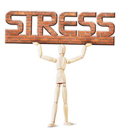 marioneta de madera: Hombre bajo el peso de estrés. Imagen conceptual con un muñeco de madera Foto de archivo