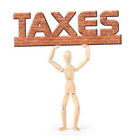 marioneta de madera: Hombre bajo el peso de los impuestos. Imagen abstracta con una marioneta de madera