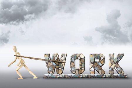 marioneta de madera: Concepto del trabajo duro. Imagen abstracta con una marioneta de madera