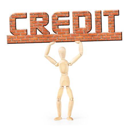 marioneta de madera: Deudor en virtud de la carga de crédito. Imagen conceptual con un muñeco de madera