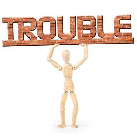 marioneta de madera: Hombre bajo la carga de problemas. Imagen conceptual con un muñeco de madera