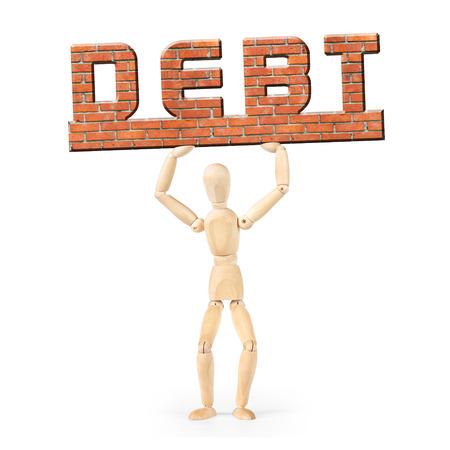 wooden puppet: Deudor en virtud de la carga de la deuda. Imagen conceptual con un mu�eco de madera