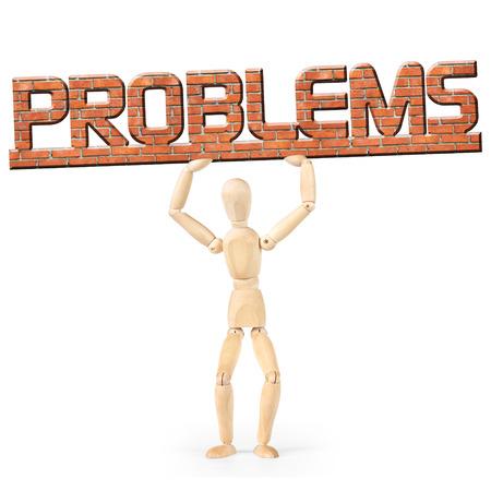 marioneta de madera: Hombre bajo el peso de los problemas. Imagen conceptual con un muñeco de madera