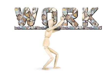 marioneta de madera: Heavy backbreaking labor. Conceptual image with a wooden puppet Foto de archivo