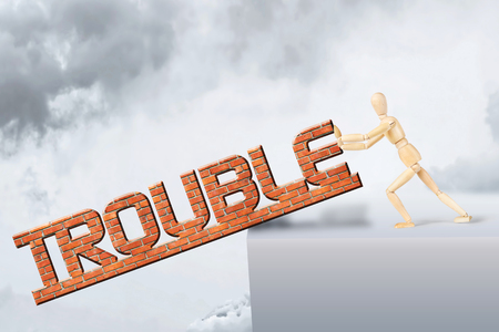 marioneta de madera: El hombre se deshace de problemas. Imagen conceptual con un muñeco de madera