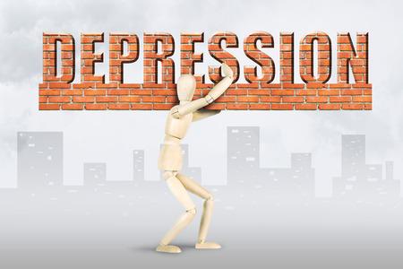 marioneta de madera: El hombre lleva la carga de la depresi�n. Imagen conceptual con un mu�eco de madera Foto de archivo