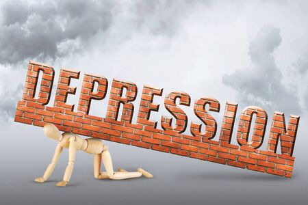 psychics: Man stands on his knees under the pressure of emotional depression. Abstract image with a wooden puppet Stock Photo