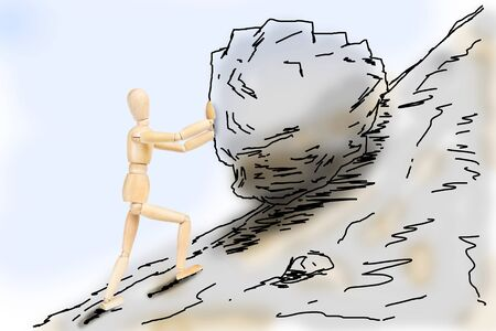 sisyphus: Man pushing a stone up to the mountain slope. Abstract image with a wooden puppet Stock Photo