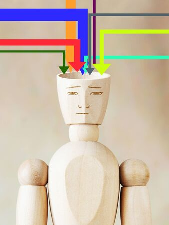 conscious: Many sources of information fill human head. Concept of man conscious Stock Photo