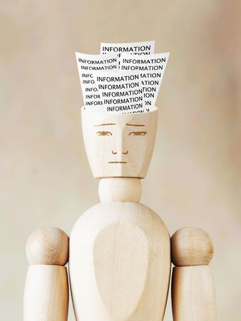 multiple personality: Much various information into the human head. Abstract image with wooden puppet
