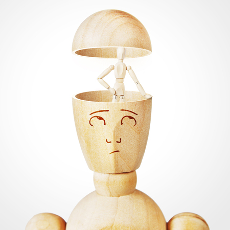 doppelganger: Concept of alter ego in the human mind. Abstract image with a wooden puppet Stock Photo