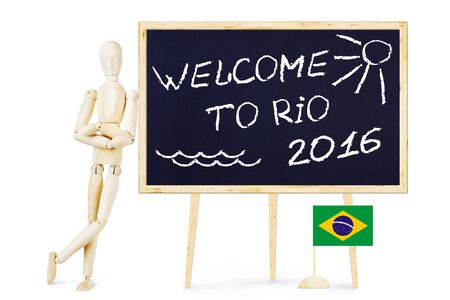marioneta de madera: Welcome to Rio 2016. Abstract conceptual image with a wooden puppet