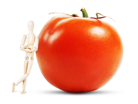 lean out: Man stands by a huge ripe tomato. Abstract image with a wooden puppet