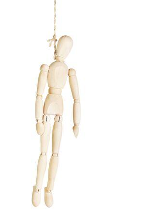 marioneta de madera: Ahorcado suicidio hombre. Imagen abstracta con una marioneta de madera Foto de archivo