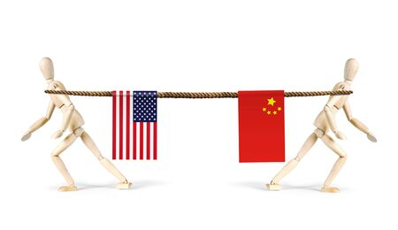 rivalry: Rivalry of China and USA. Two men pull a rope in different directions. Abstract image with wooden puppets
