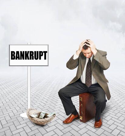 penury: Desperate businessman who became bankrupt. Concept of bankruptcy