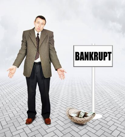 penury: Frustrated man asking alms. Concept of bankruptcy