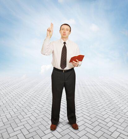 oratory: Preacher giving a speech with enthusiasm Stock Photo