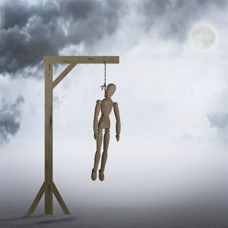 Dead Man hanging on a gallows in the cloudy night. Horror. Abstract image with a wooden puppet Stock Photo