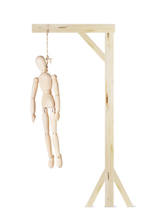 deadman: Dead Man hanging on a gallows. Abstract image with a wooden puppet Stock Photo