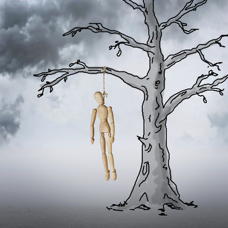 Dead Man hanging on a tree in the cloudy night. Horror. Abstract image with a wooden puppet