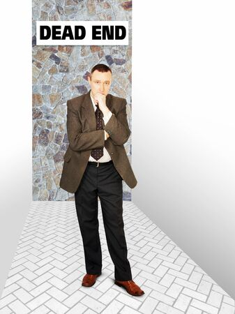 impasse: Concentrated man thinking in a deadlock. Concept of difficult problem solution Stock Photo