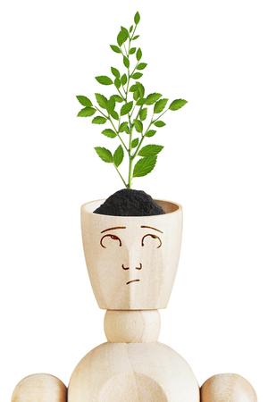 marioneta de madera: planta que crece de la cabeza humana. la mente del medio ambiente. Imagen abstracta con una marioneta de madera