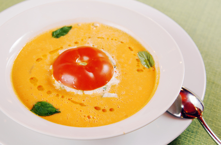 cousin: Traditional Spanish tomato soup  Gazpacho in a plate Stock Photo