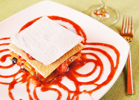 cousin: Millefeuille Layered dessert  with fresh berries and jam
