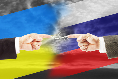 Angespannte Beziehungen zwischen Russland und der Ukraine. Konzept von Konflikten und Stress