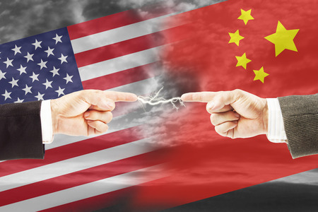 Tense relations between United States and China. Concept of conflict and stress