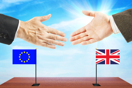 Concept of friendly relations between European Union and Great Britain. Diplomacy and international policy Stock Photo