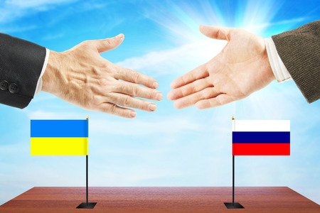 Concept of friendly talks between Russia and Ukraine. Diplomacy and international policy