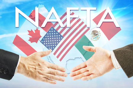 association: Concept of NAFTA. United States Canada Mexico trading association