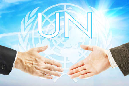 Concept of United Nations organization. Global international union Stock Photo