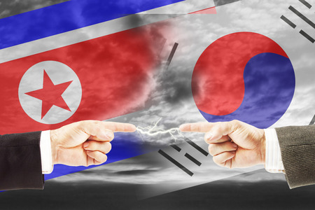 Enmity and antagonism between North and South Korea. Concept of conflict