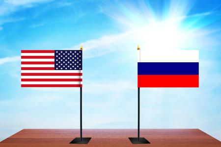 conversaciones: Concept of diplomatic talks between United States and Russia Foto de archivo
