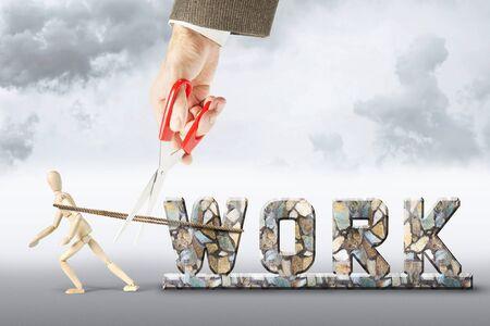 marioneta de madera: Deshacerse del trabajo duro. Imagen abstracta con una marioneta de madera Foto de archivo